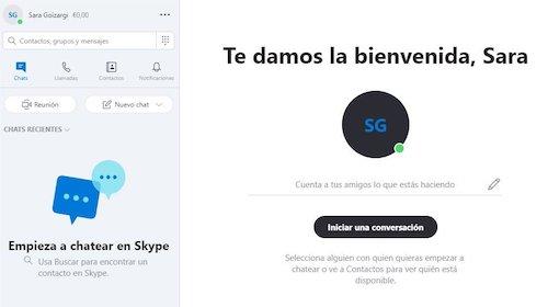 iniciar chat Skype